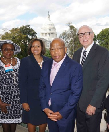 SOPHE CEO, E. Auld; SOPHE 2017-18 Board Pres., Dr. A. Bitto; SOPHE Sr. Policy Director, Dr. C. Hampton; Rep. John Lewis (GA); SOPHE Past Pres., Dr. D. Birch; SOPHE Policy & Communications Coord., J. Buckley