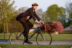 female riding a bike
