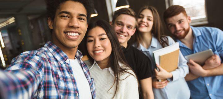 college students selfie
