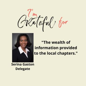 Serina Gaston is grateful for